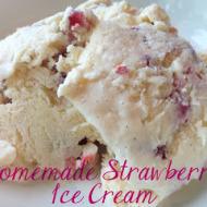 Homemade Strawberry Vanilla Bean Ice Cream