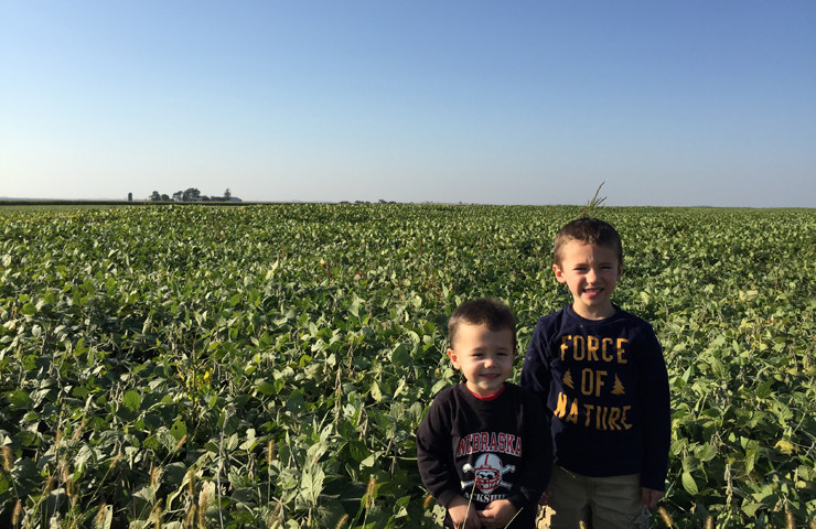 Boys in Biotech Soybean Field