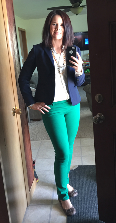 Custom-Made Navy Blazer, Green Jeans Outfit