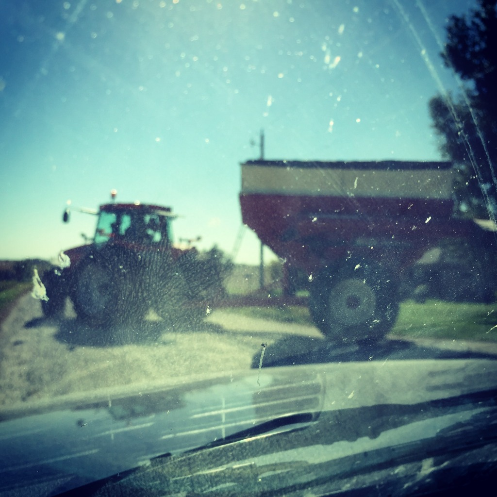 Harvest has started-tractor pulling grain cart