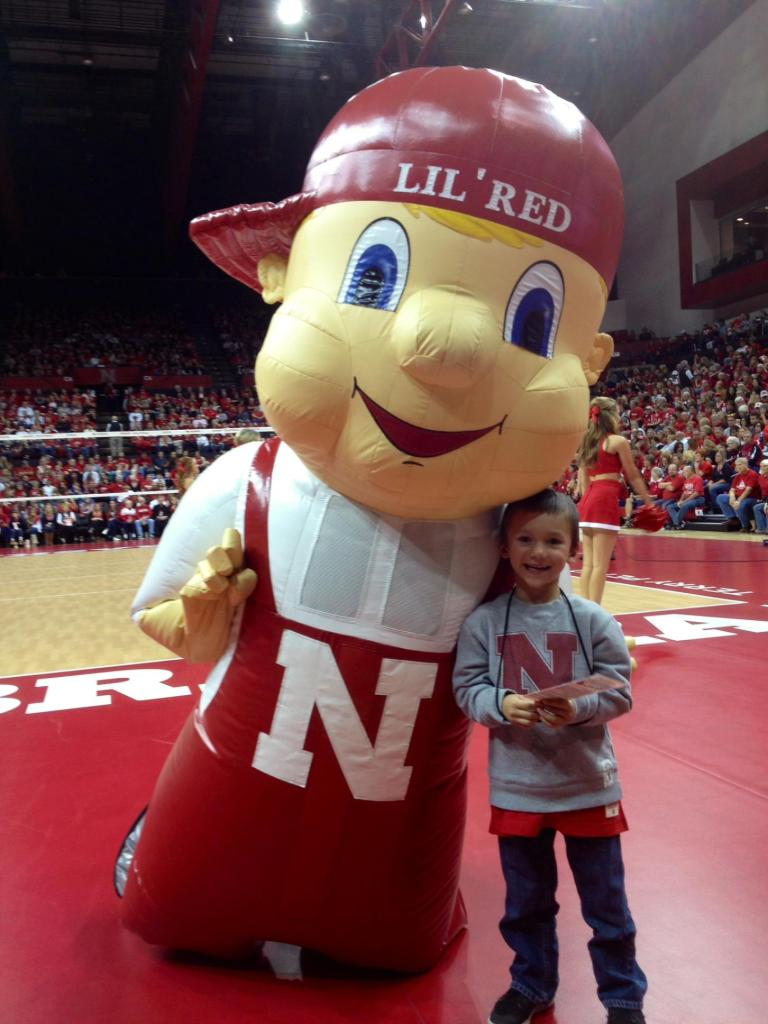 Hudson and Lil' Red at Husker Volleyball Game