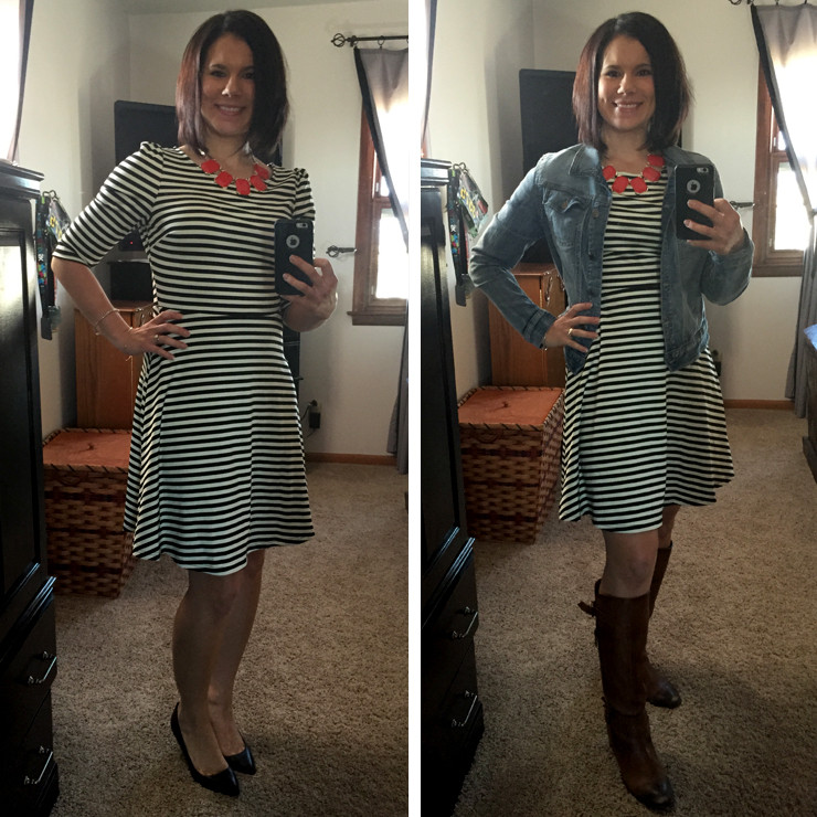 Pixley Kathy Striped Fit & Flare Dress-Stitch Fix #8_Two Styles www.saras-house.com