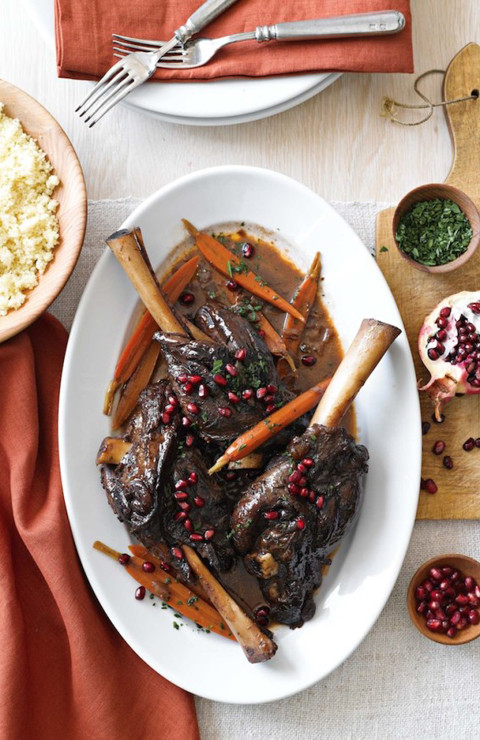 Pomegranate Merlot Braised Lamb Shanks-Williams Sonoma