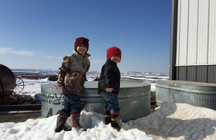 Farm Kids Playing Outside