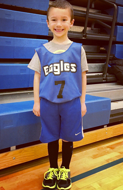Hudson in his Basketball Uniform