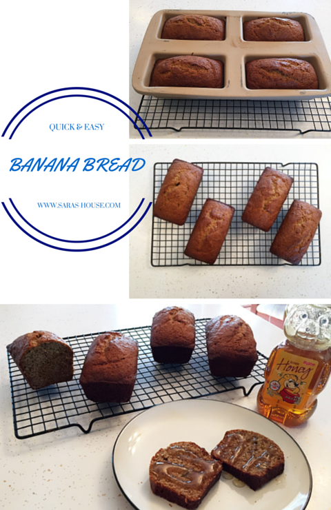 QUICK & EASY BANANA BREAD at www.saras-house.com