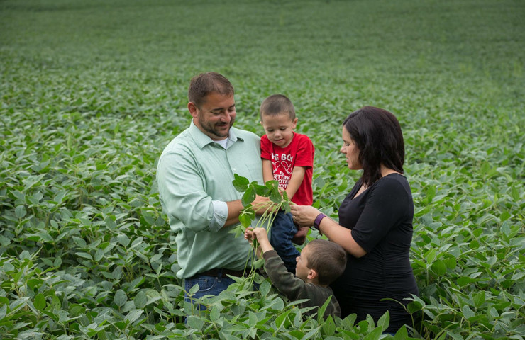 Family Looking at Soybean Plant