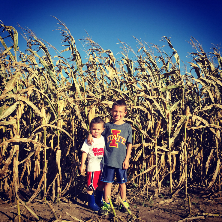 Farm Kids and Corn at Harvest