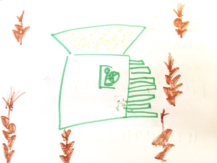 Combining Corn Kid Drawing